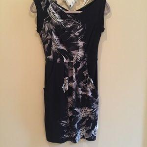 BCBGMAXAZRIA comfy black and white floral dress